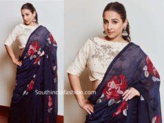 vidya balan in navy blue printed saree