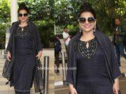 vidya blana black palazzo suit at airport (1)