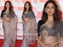 yami gautam in raw mango saree at lokmat most stylish awards (2)