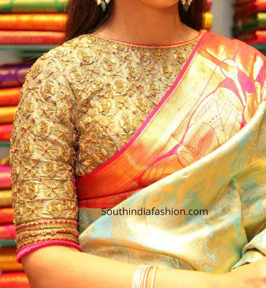 zardosi work blouse for pattu sarees