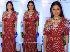 Ankita Lokhande in red lehegna saree at lions gold awards 2020