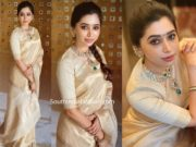 aarti ravi in gold tissue saree