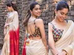 actress sharvari in cream color saree