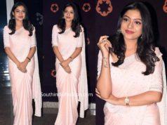 actress varsha bollamma in peach saree