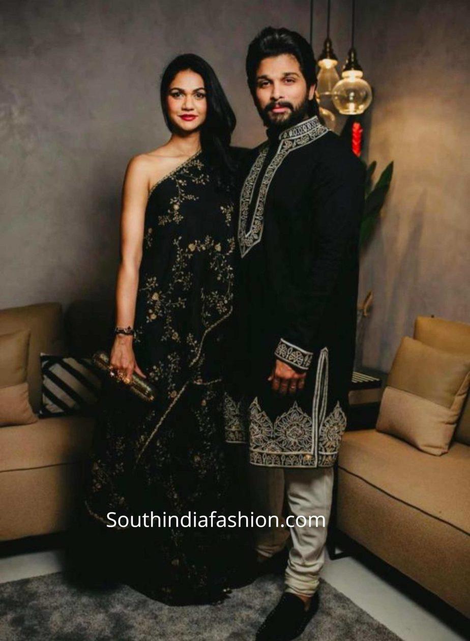 allu arjun and sneha reddy in black outfits by abu jani sandeep khosla