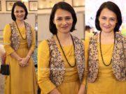 amala akkineni in a yellow kurta set at syed wajid ali engagement (2)
