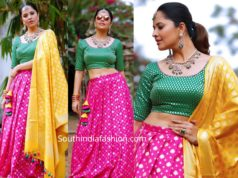 anasuya in pink lehenga for sankranthi