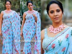 anchor anasuya blue printed saree