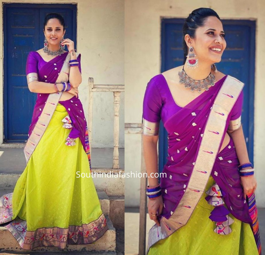 anchor anasuya in paithani half saree