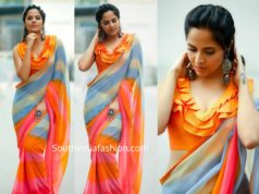 anchor anasuya saree with ruffle blouse
