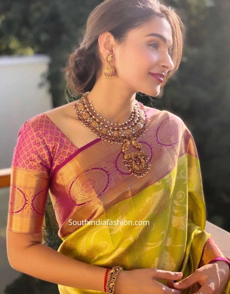 andrea jeremiah in green silk saree at a wedding (1)