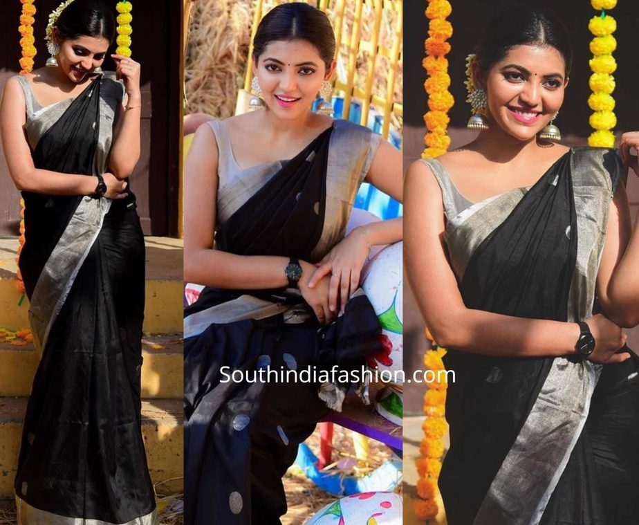 athulya ravi black silk saree for pongal