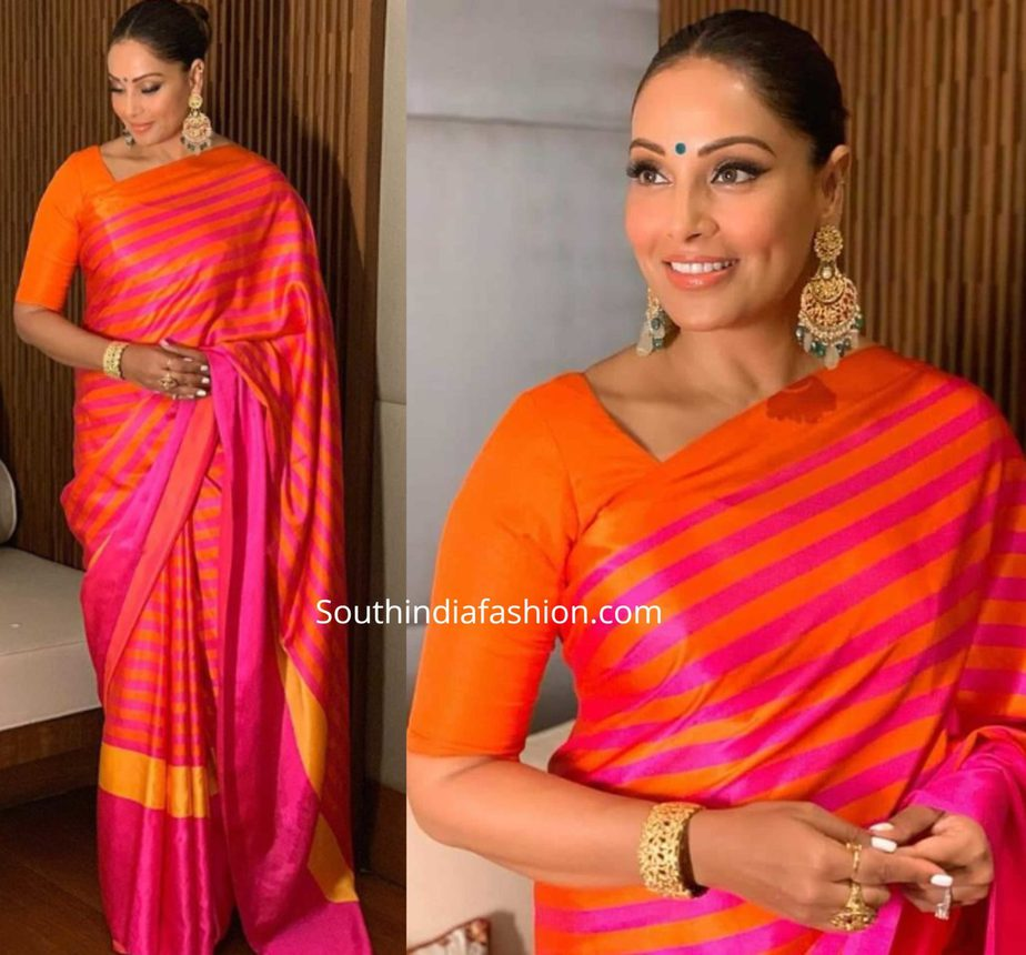 bipasha basu in raw mango striped silk saree (1)