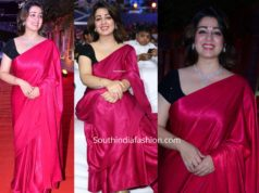 charmme kaur in pink saree at zee cine awards telugu 2020