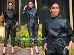 deepika padukone black leather pants