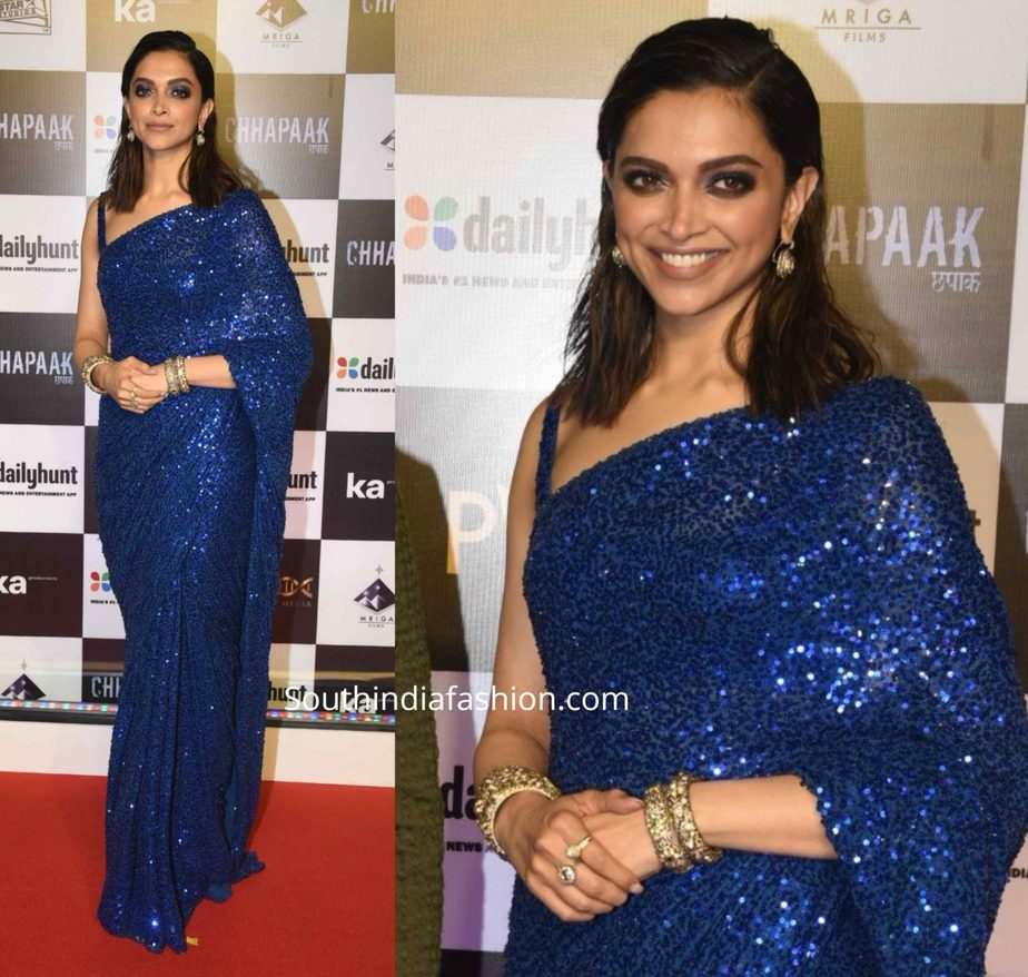 deepika padukone in blue sequin saree by sabyasachi at chhapaak premiere (1)