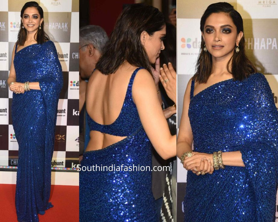deepika padukone in blue sequin saree by sabyasachi at chhapaak premiere