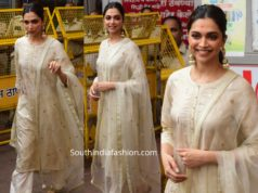 deepika padukone in cream color kurta palazzo at siddhivinayak temple
