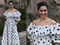 deepika padukone in white polka dot dress chhapaak promotions