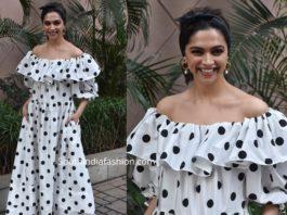 deepika padukone in white polka dot dress chhapaak promotions