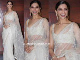 deepika padukone in white sabyasachi saree at javed akthar birthday (3)