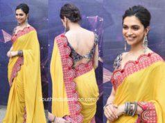deepika padukone in yellow anamika khanna saree at chhapaak promotions (1)