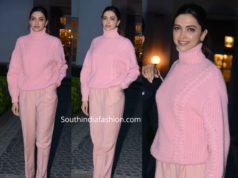 deepika pink sweater chhapaak promotions