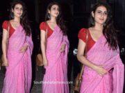fatima sana shaikh in a pink linen saree