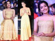 rashmika mandanna in yellow gown at sarileru neekevvaru pre release event
