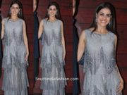 genelia in grey gown at javed akhtar birthday party