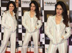 genelia in striped pant suit at chhapaak premiere