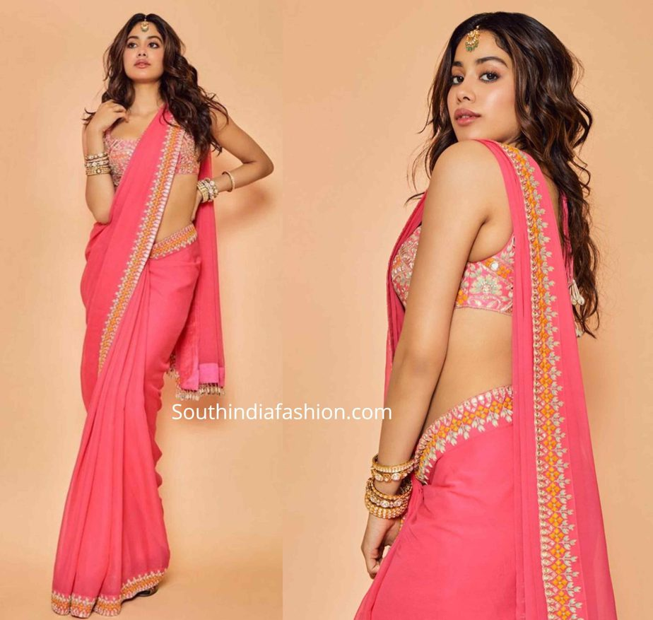 janhvi kapoor in pink saree by arpita mehta (1)