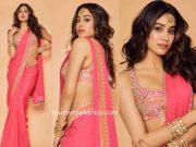 janhvi kapoor in pink saree by arpita mehta