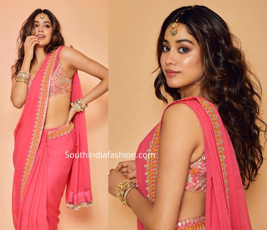 janhvi kapoor in pink saree by arpita mehta (3)