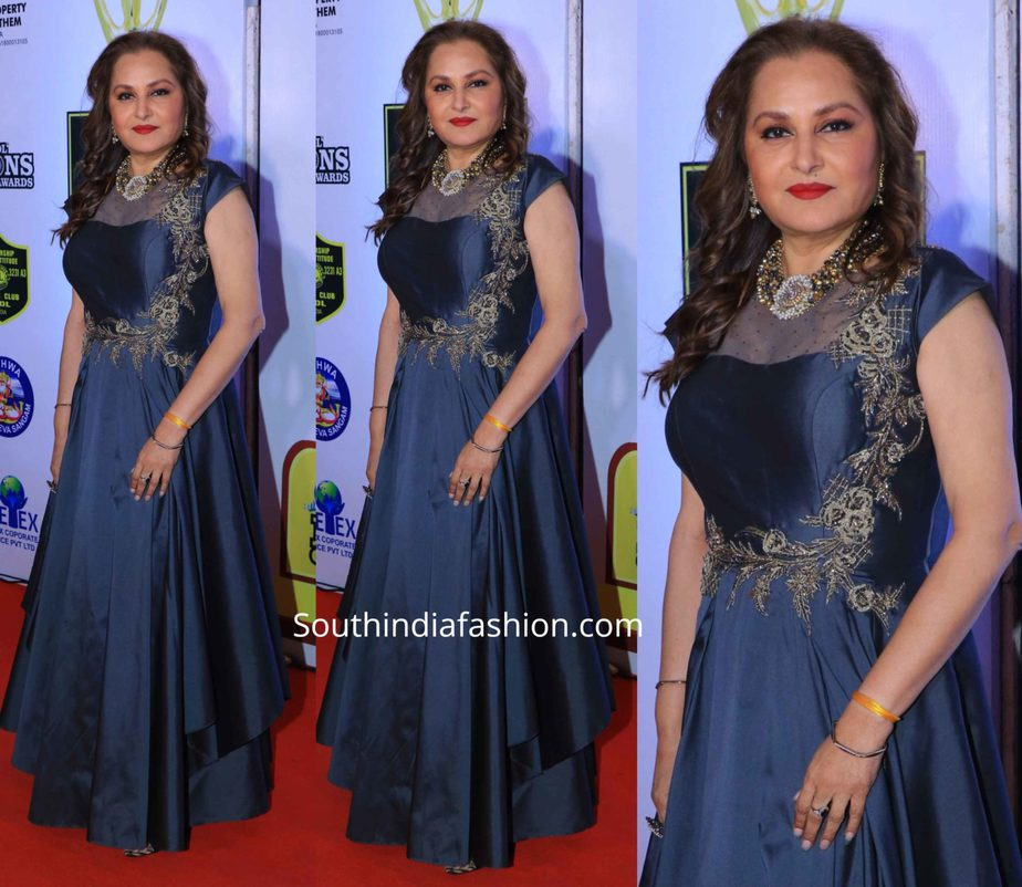 jayaprada in blue gown at lions gold awards 2020