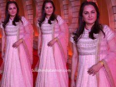 jayapradha in pink floor length anarkali at zee cine awards telugu 2020
