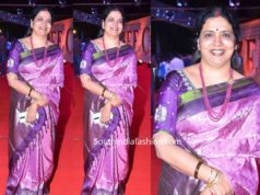 jeevitha rajasekhar in purple silk saree at zee cine awards telugu 2020