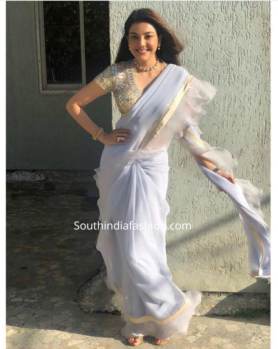 kajal aggarwal in abu jani sandeep khosla ruffle saree (2)