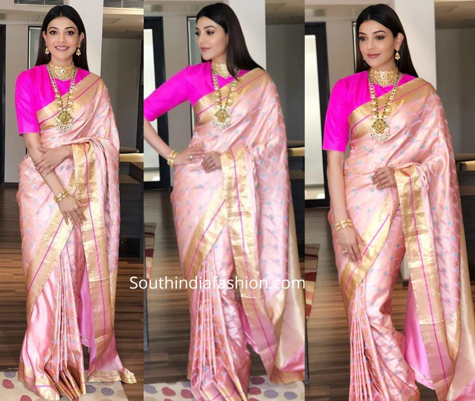 kajal aggarwal in raw mango pink silk saree at khazana jewellers launch (2)