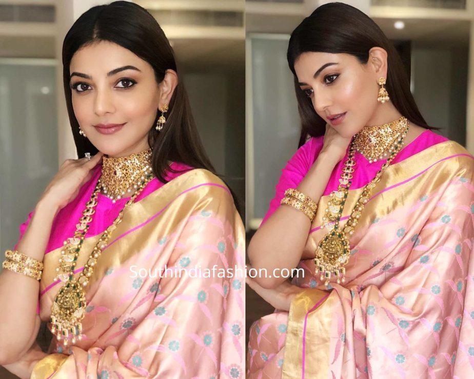 kajal aggarwal in raw mango pink silk saree at khaza jewellers launch (2)