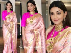 kajal aggarwal in raw mango pink silk saree at khazana jewellers launch (2)