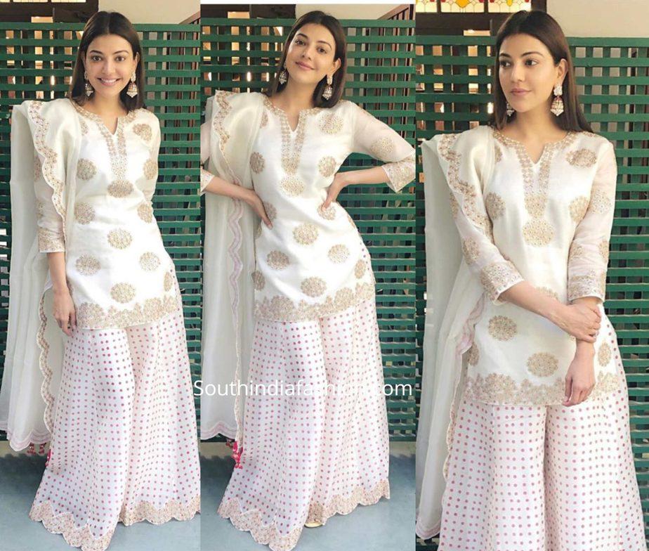 kajal aggarwal in white sharara suit