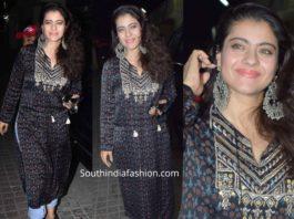 kajol in black kurta with jeans