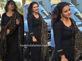 kajol in black salwar kameez at tanhaji screening
