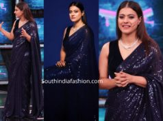 kajol in blue sequin saree by manish malhotra