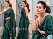 kajol in green saree by raw mango at tanhaji promotions