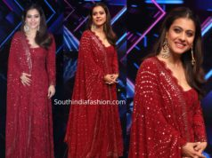 kajol in maroon anarkali on dance plus show