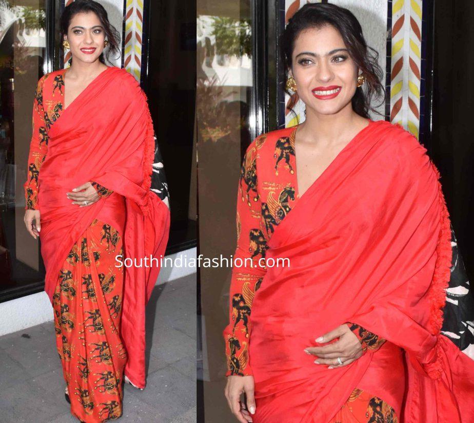 kajol in red saree at tanhaji promotions (1)