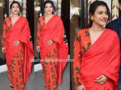 kajol in red saree at tanhaji promotions