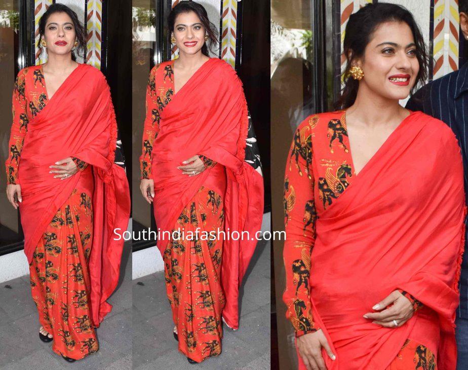 kajol in red saree at tanhaji promotions